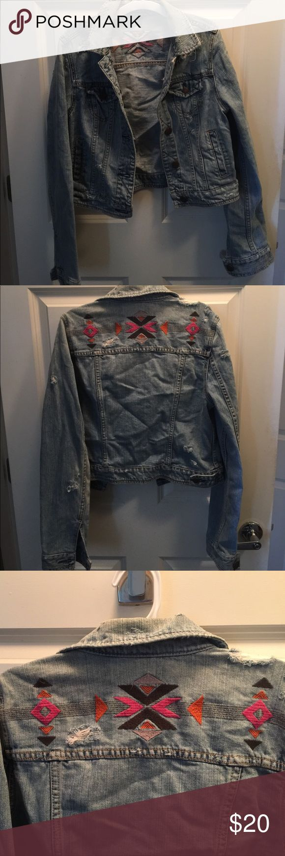 Super Fun Aztec Jean Jacket Great condition. Slight discoloring around the collar. American Eagle Outfitters Jackets & Coats Jean Jackets