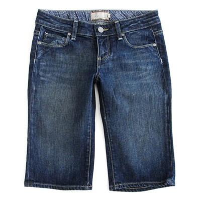 $158 PAIGE premium denim DARK blue LAUREL crop BERMUDA stretch jean shorts 25 $29.99