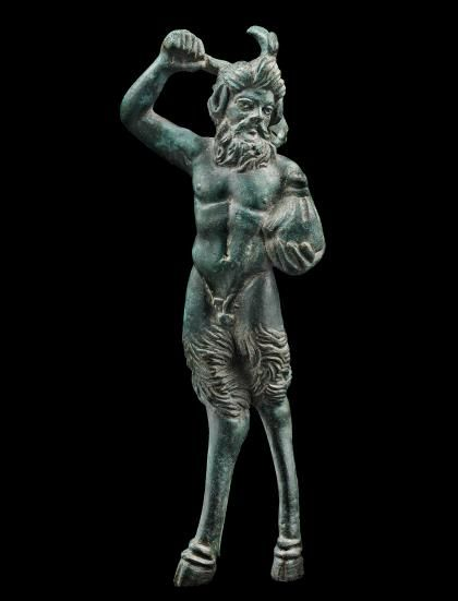 Greco Roman Bronze Pan with Hunting Stick and Bag New York | Sculpture   Date:  1st Century BC, 1st Century AD Culture:  Greek, Roman Category:  Sculpture Medium:  Bronze
