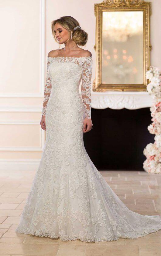 Off The Shoulder Lace Wedding Dress In 2019 Wedding Dresses