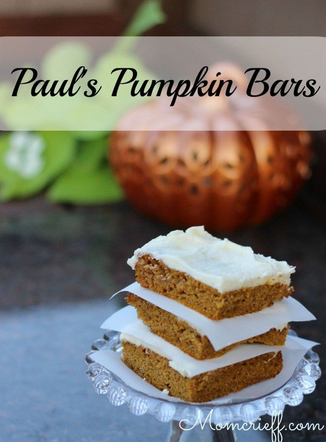 Paul's Pumpkin Bars. With cream cheese icing. The bars are perfectly moist, and the cream cheese icing is amazing! The bonus is, this recipe is actually EASY!!