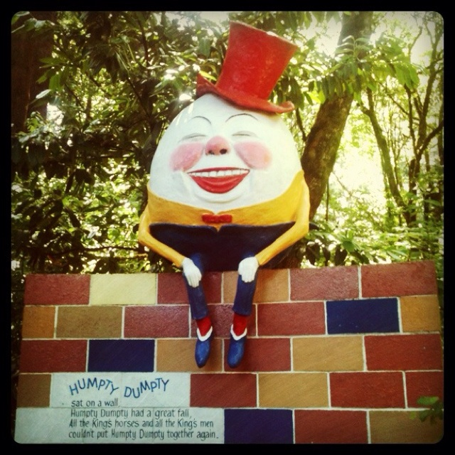"""Humpty Dumpty in the """"Enchanted Forest"""" theme park in Ellicot City, Maryland - vintage picture. The site opened in 1955 and definitely closed in 1995 after many troubled circumstances. It has been abandoned for a while since then but luckily many of the original structures have nowadays been repaired and re-located in the very same city at """"Clark's Elioak Farm""""."""