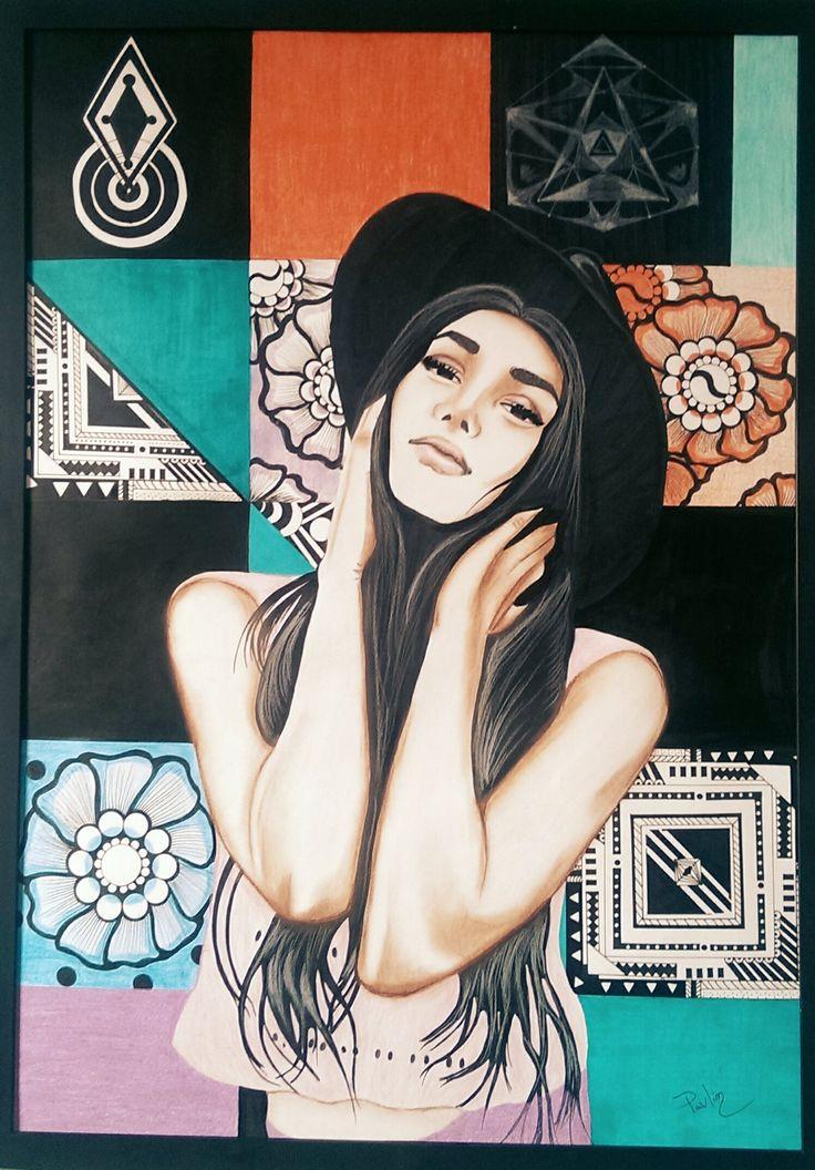 #naressavaldez #naressa #hat #illustration #drawing #pencils #brunette
