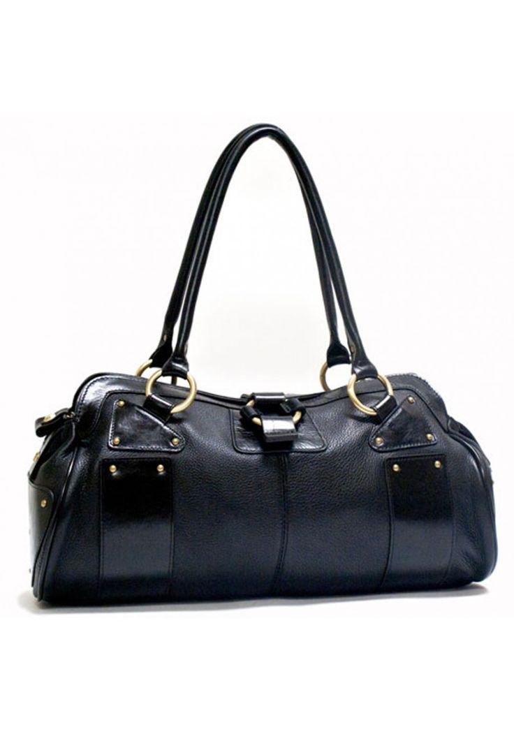 pierre cardin - Black Soft Italian Leather double handle handbag