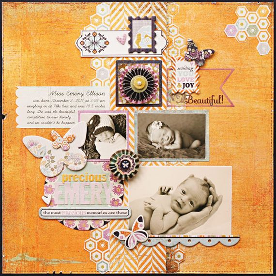 Basic Grey Plumeria collection - Layout by Kelly Goree