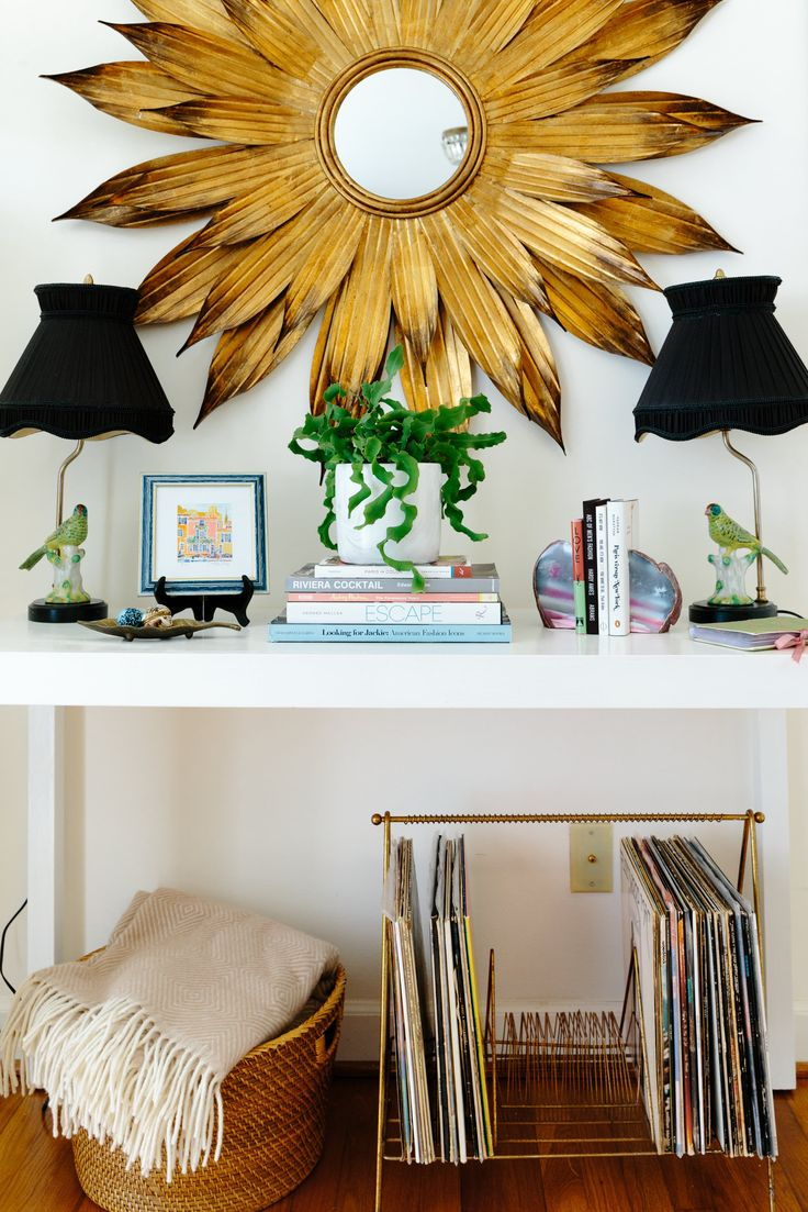 The funky bird lamps are from a (unfortunately now closed) shop in Charlotte called Pompous Peasant. The record table is from local Union Camp Collective.