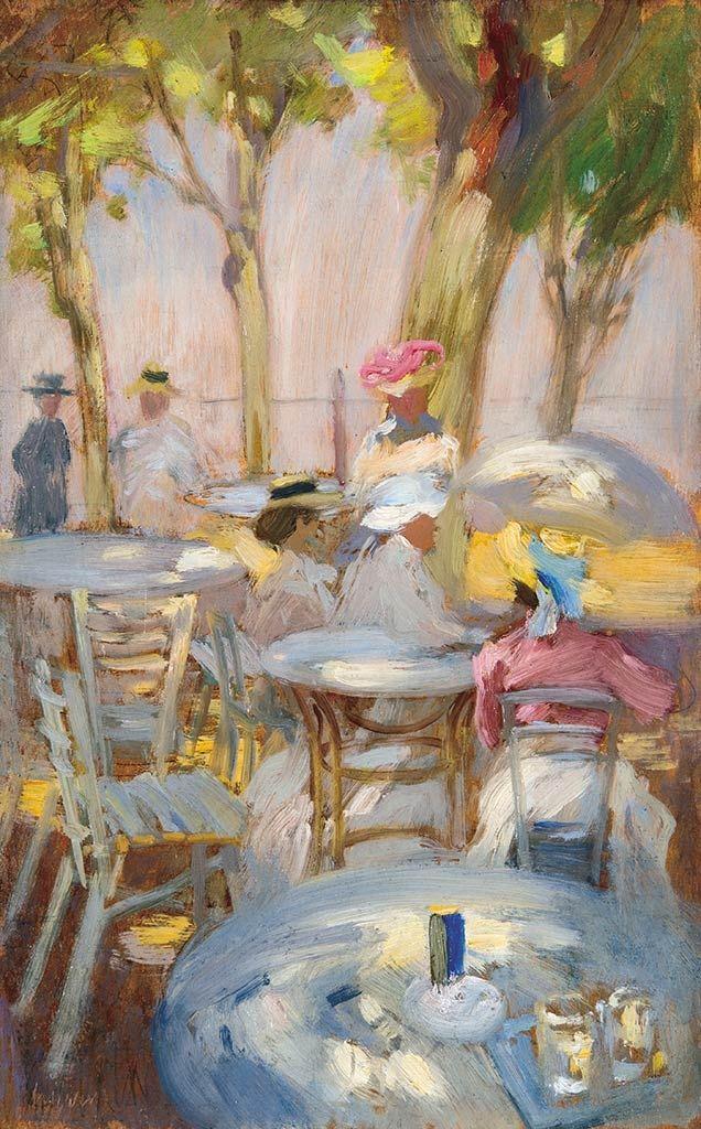 Vaszary János: Kávéházi terasz Siófokon (kertben vendéglő teraszán, kerti jelenet) 1906.