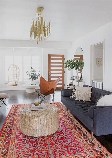 Colorful Midcentury Modern Living Room With A Brass Chandelier, Gray   Wohnzimmer  Braun Beige Grun ...