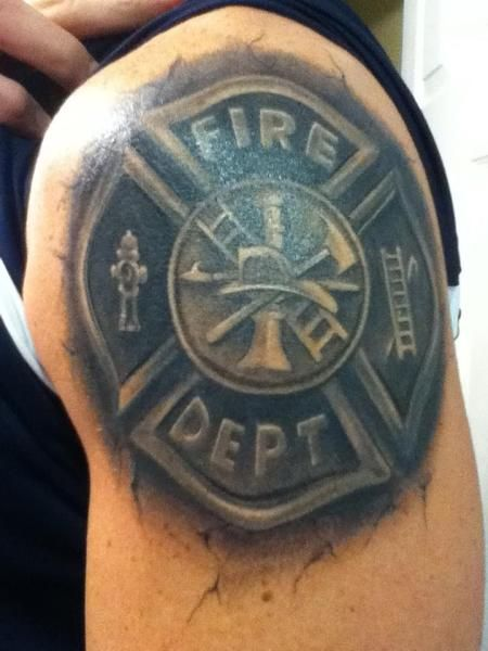 3-D Firefighter Maltese Cross Tattoo (shoulder) | Shared by LION