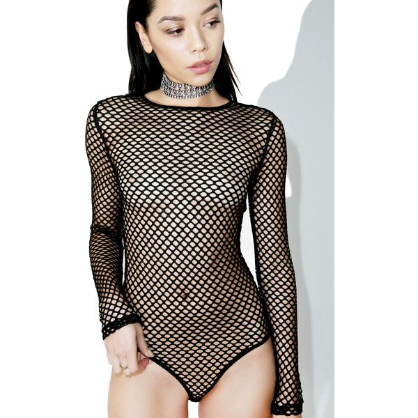 Stevie Fishnet Long Sleeve Bodysuit (50 CAD) ❤ liked on Polyvore featuring intimates and shapewear