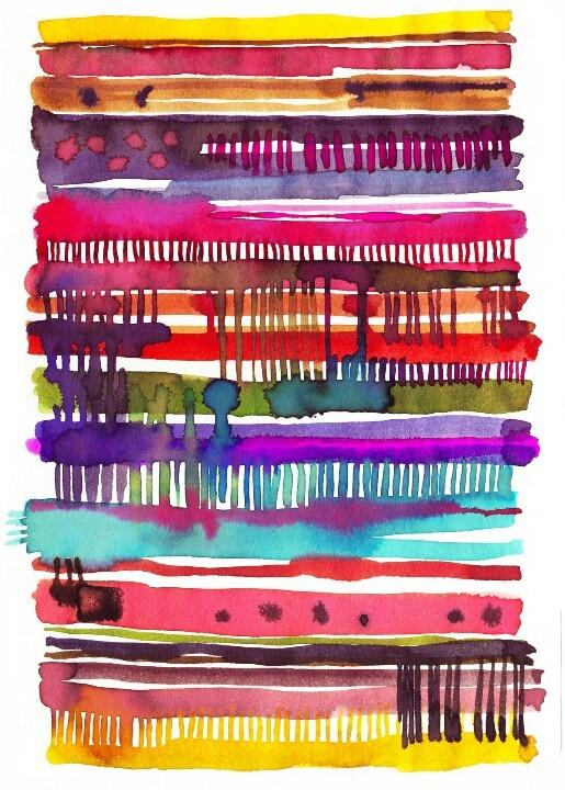 Irregular stripes pattern, Multi-color, Watercolor