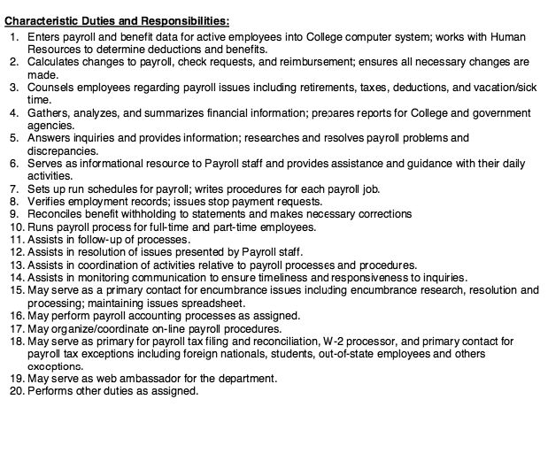 20 responsibilities and duties payroll specialist http