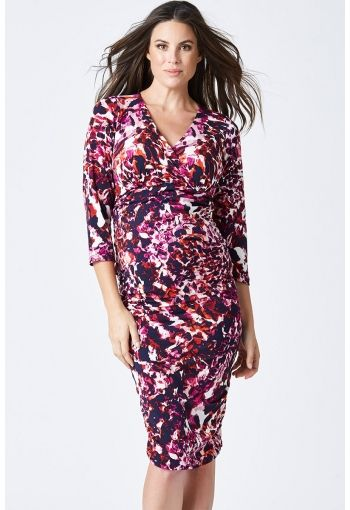 Stella Tube Dress - Blossom & Glow Maternity. With it's gorgeous crossover neckline and signature side rouching, our Stella Tube Dress offers you the very best in understated occasion-wear.  Cut with a flattering empire line, you'll love the easy nursing access, and mid length sleeves for all-season wear.  Style with an elegant clutch and heels for a sophisticated evening look, or team with our denim shirt and your flats for a trendy daytime look.  Fabrication: Polyester, Elastane