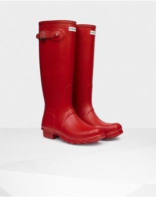 Hunter UK Online HUNTER WOMEN'S ORIGINAL TALL GLOSS RAIN BOOTS MILITARY RED 10