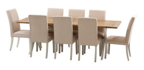 Byron 2300 Dining Package with Maxwell Chairs (Table: 2300W x 900D x 785H mm. Chair: 460W x 640D x 1000H mm.) RRP $1877