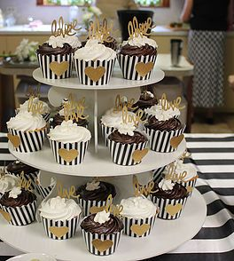 Cupcakes with Striped Liners | Kate Spade Inspired Bridal Shower | South Texas wedding & event planning