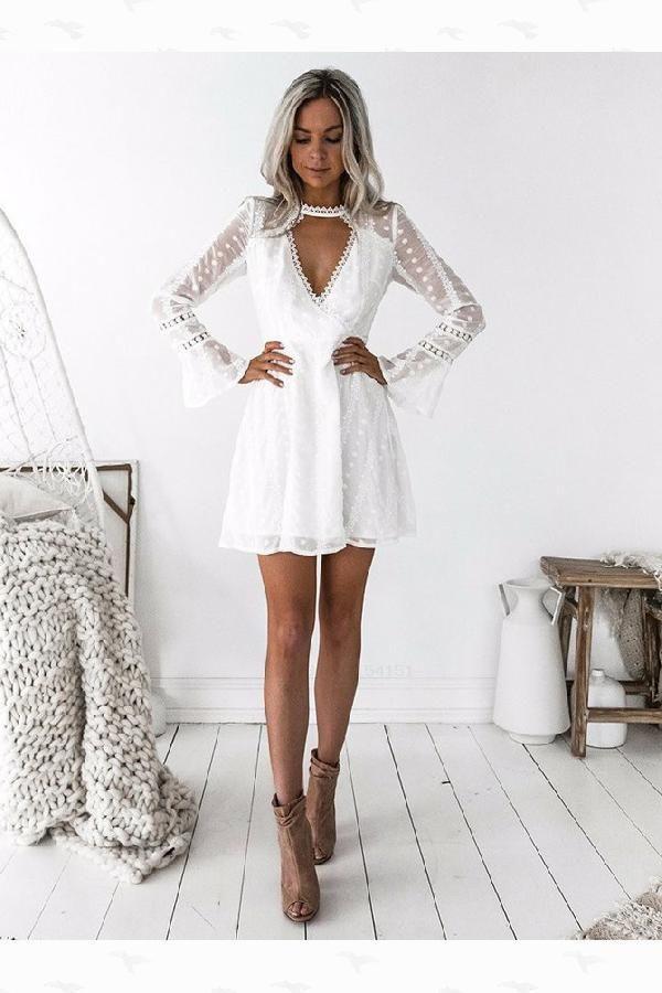 Vestidos de festa personalizados de renda branca, Vestidos de festa de mangas compridas, Vestidos de festa A-Line, Vestidos de festa de renda   – dress