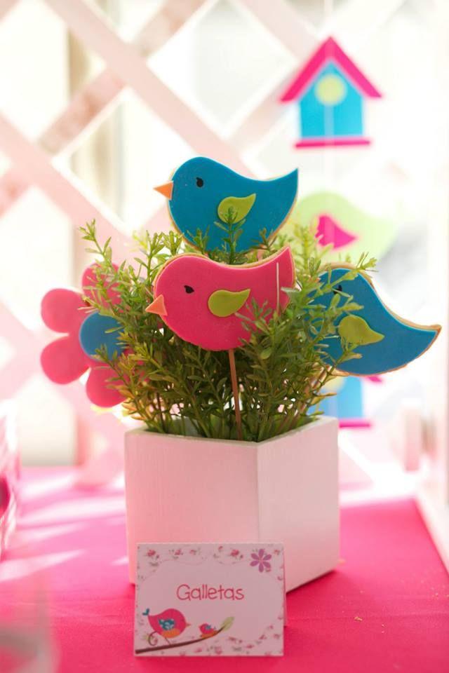 Primeiro Ano - Festa Tema Passarinhos - Centro de Mesa Passarinhos Azul e Rosa