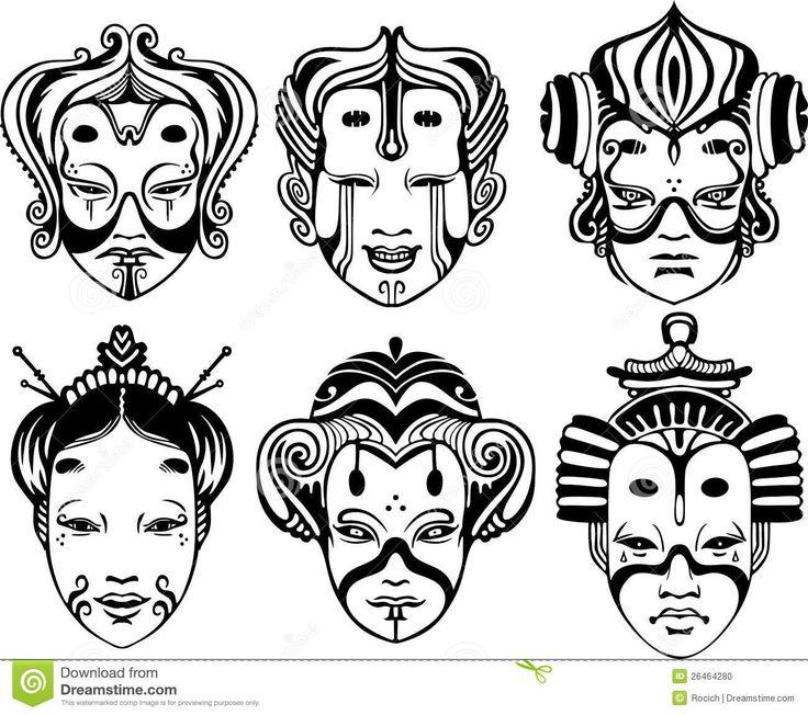 Máscaras japonesas del Theatrical de Tsure Noh