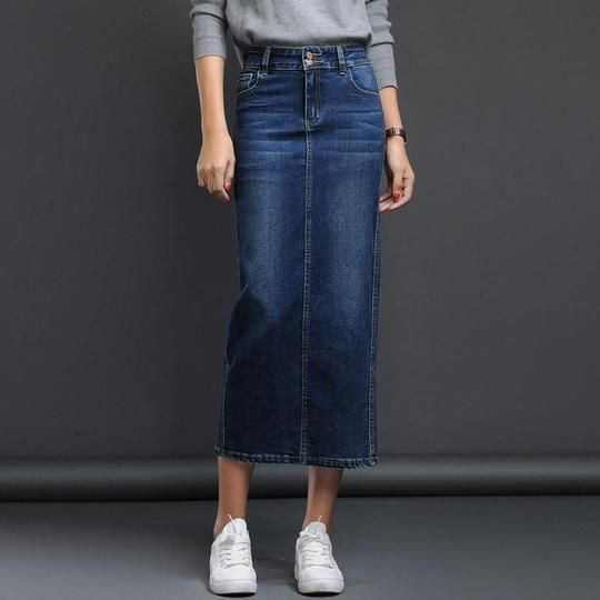 Fashion Spring Women Blue Black High Waist Denim Long Skirt Classic Vi – liilgal