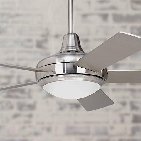 A contemporary ceiling fan with a brushed nickel finish, by Casa Vieja®️ ceiling fans.