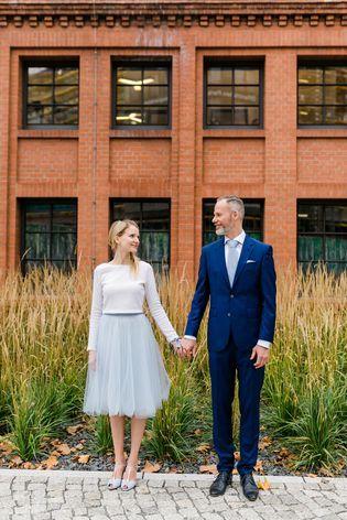 Zweiteiler zur Hochzeit mit Tüllrock und Braut Pullover