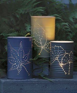 Soup can luminaries (spray painted & nail holes punched...sounds like a job for the groom & his men)