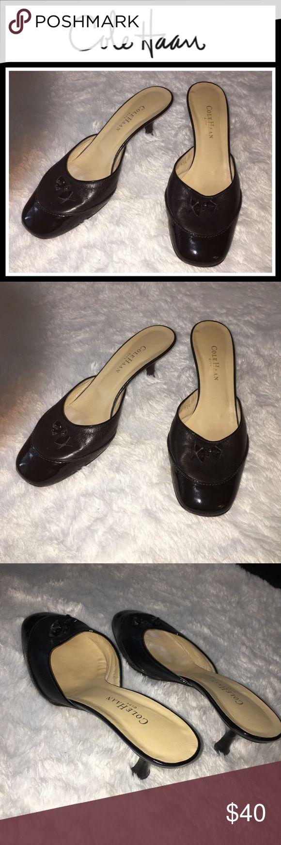Simple Cole Haan Kitten Heel Black Leatherr Mules