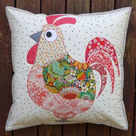 Claire Turpin Chooks 2 Cushion pattern Mrs Chook and Mr Chook Cushion The pattern includes  instructions for applique to make these adorable Chooks. the finished size is 17″ square.