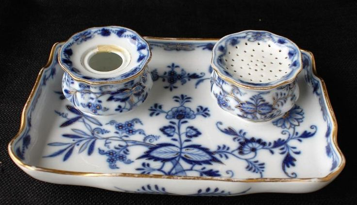 Antiq MEISSEN Germany Crossed Swords Porcelain Blue ONION Set Inkwell Quill Tray   eBay