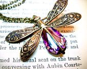 Dragonfly Necklace - Swarovski Rainbow Crystal Antique Brass Necklace Amethyst Birthstone