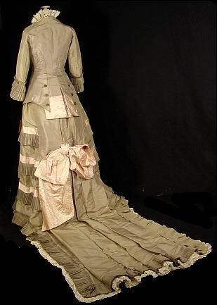 c. 1877 Sage Green Silk Taffeta and Cream Jacquard Bustle Gown with 3 Foot Train!