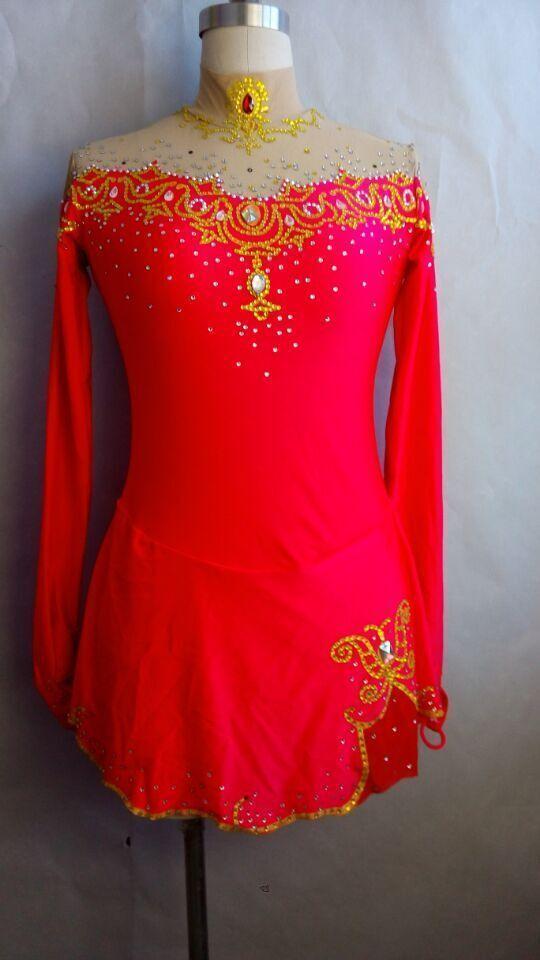 ice skating dresses red for women figure skating clothing custom spandex girls #yike