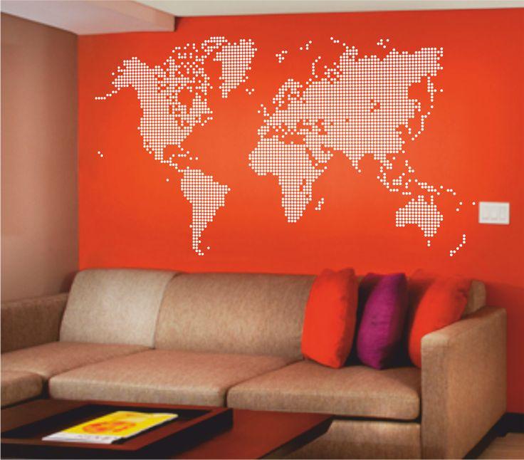 Vinilo decorativo mapa del mundo puntos vinilo for Vinilo mapa del mundo