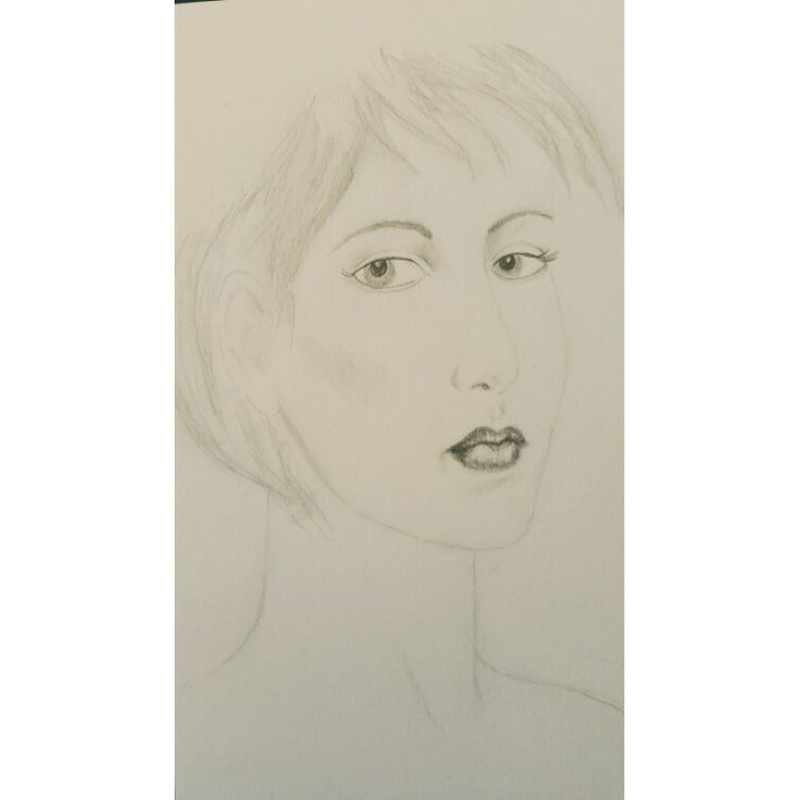 Short hair girl in hb and 6b graphite