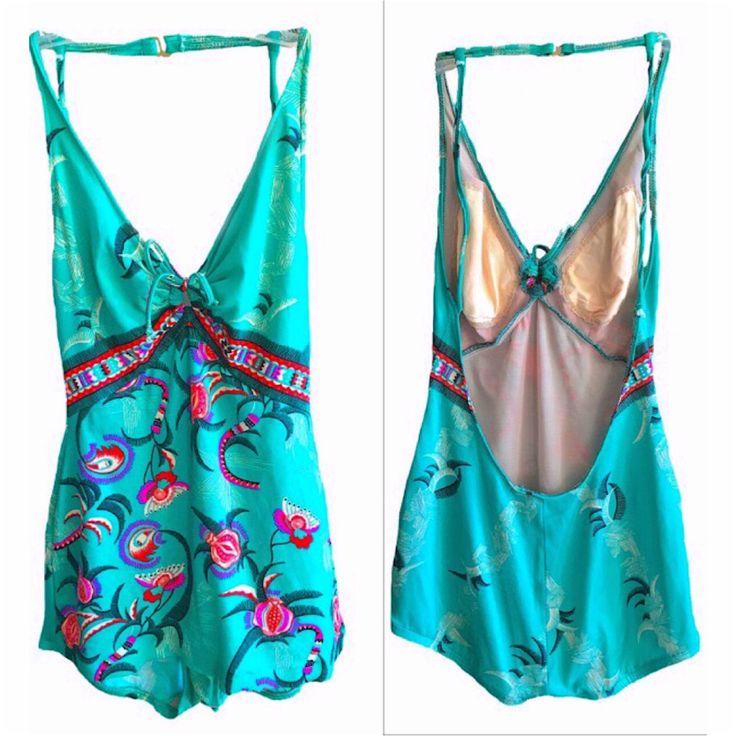 Vintage Bathing Suit Paisley 70's print halter one piece bodysuit one piece womens turquoise green paisley Hawaiian tribal aztec Catalina by VELVETMETALVINTAGE on Etsy