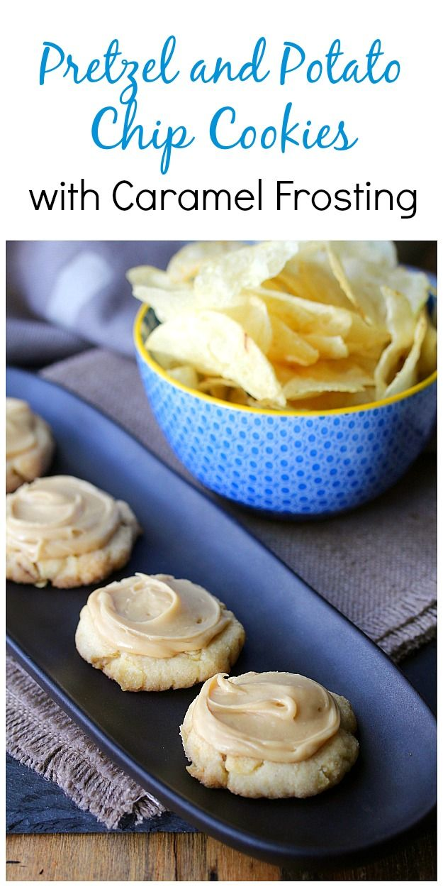 Pretzel and Potato Chip Cookies with Butterscotch Frosting
