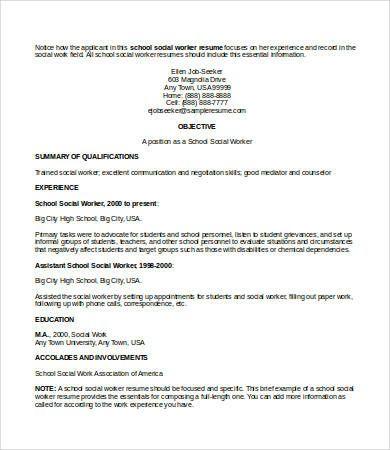 Social Work Resume - 9+ Free Word, PDF Documents Download | Free & Premium Templates