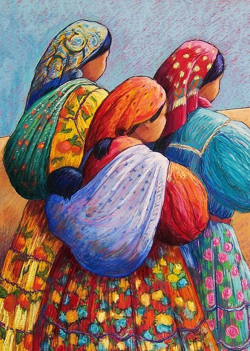 """Tarahumara Women Greeting Card for Sale by Candy Mayer.  Our premium-stock greeting cards are 5"""" x 7"""" in size and can be personalized with a custom message on the inside of the card.  All cards are available for worldwide shipping and include a money-back guarantee."""