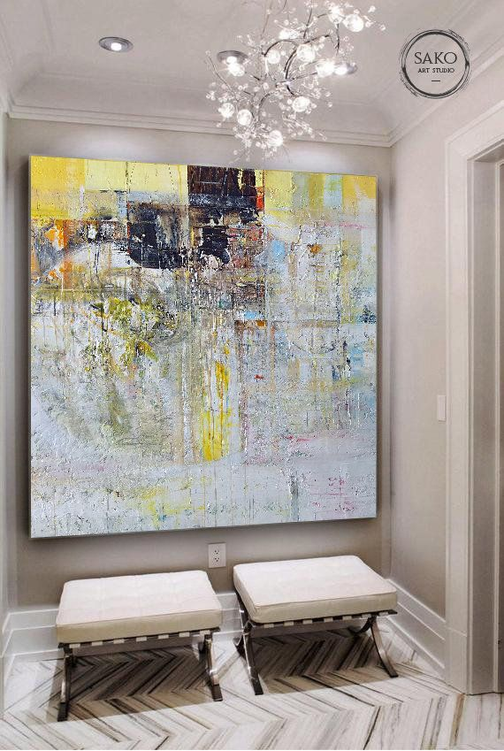 Large Original Abstract Oil Painting White Gold Painting Hand
