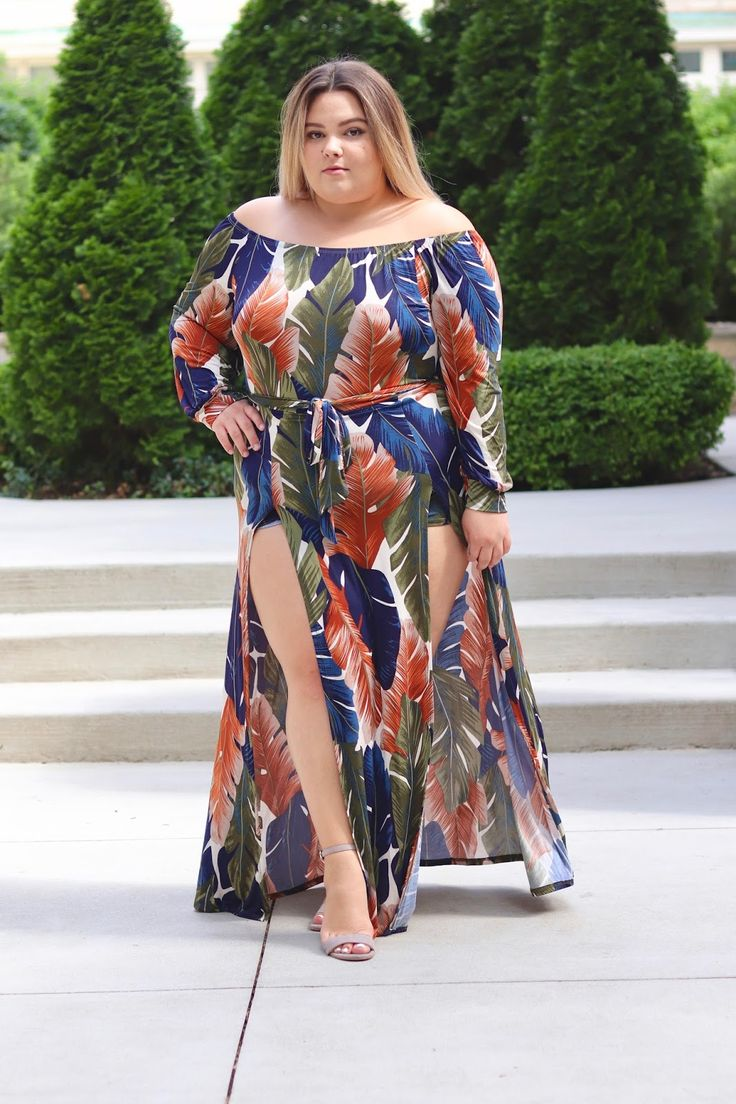 I found the secret to feeling like a goddess, and it's this Night Moves dress on Fashion Nova Curve. It's off the shoulder, it has high slits, and the tropical floral print is divine.