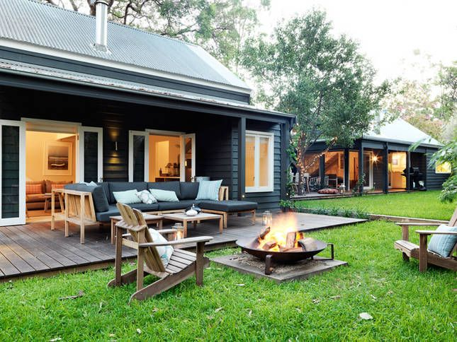 Fire pit, black weatherboard, love this!