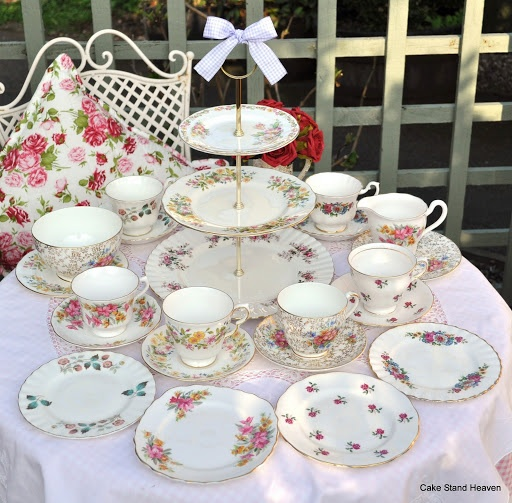 Fasionable Florals pretty vintage mixed china tea set and three tier cake stand for six