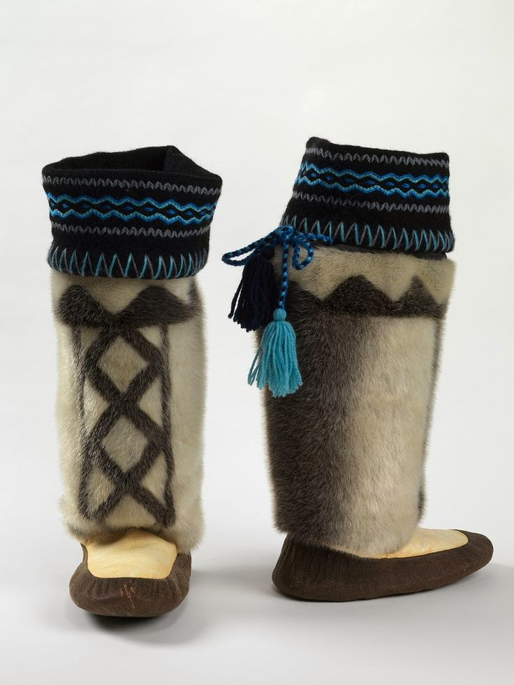 Most Inuit prefer waterproof skin kamiks instead of contemporary rubberized boots because the animal skin is porous and breathable which does not allow condensation to build up and permits perspiration to escape, reducing the amount of moisture build-up inside the boots. Kamiks made by Ida Karpik from Pangnirtung, Baffin Island, Nunavet in 1987. A Step Into the Bata Shoe Museum: Walking Through Winter