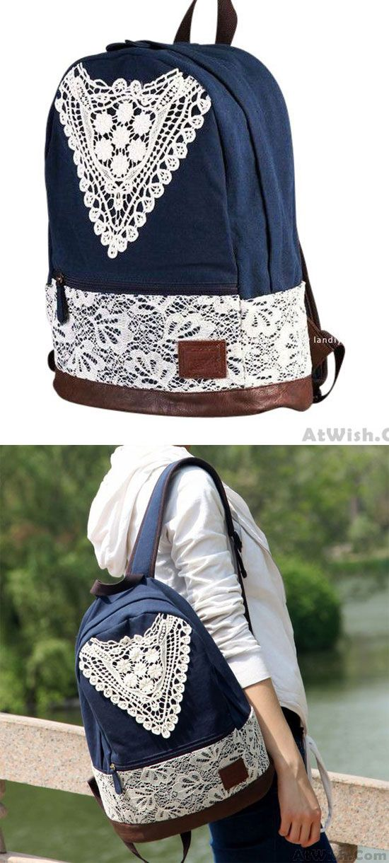 Fashion College Style Triangle Lace Canvas Backpack for big sale ! #lace #canvas #school #backpack #bag #college #student #fashion #rucksack #lady