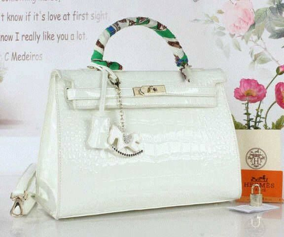 Tas Hermes Kelly Croco Semi Premium Putih - Tas Branded