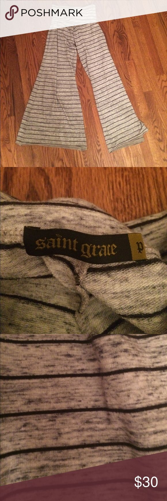 """Saint grace fold over wide leg sweatpants Super comfy wide leg and foldover sweatpants. Light gray with black horizontal stripes. Lightly worn. Bottoms were hemmed because they were soooooo long. Will fit someone 5""""3 or shorter! Saint Grace Pants Wide Leg"""