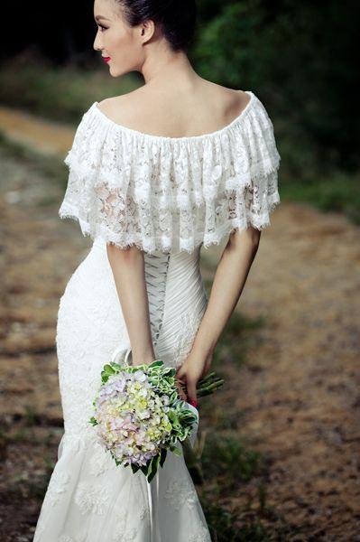 Lace Flounce off Shoulder Trumpet/Mermaid #Wedding#Dress with Appliques