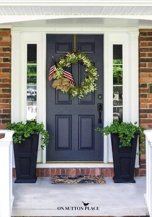 Patriotic Porch Decor Ideas. Double Front DoorsBlack ...