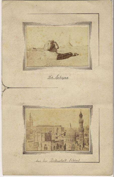 """Wilhelm Hammerschmidt (act. ca. 1860-1869)-de grote Sfinx van Gizeh / van de dode stad van Cairo op mat karton  De twee foto's zijn van een familielandgoed en werden gekocht in Egypte. Één foto draagt het label """"159. Partie du Caire W. Hammerschmidt""""in het afdrukkenElke foto is 6 x 10 cm in de dimensie.In de late jaren 1850 woonde Hammerschmidt in Berlijn op het adres nr. 1 Neu-Schöneberg. Samen met de stoort Braun opende hij een studio rond 1860 in de Egyptische hoofdstad Caïro. Zijn…"""